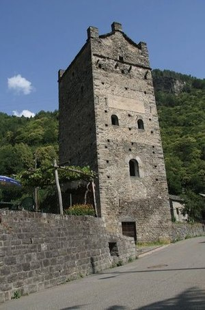 Grono, Switzerland - Torre Fiorenzana, a medieval tower in Grono