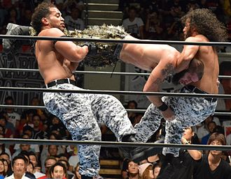 Tama Tonga - Guerrillas of Destiny performing the Guerrilla Warfare on Mark Briscoe