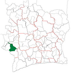 Location in Ivory Coast. Guiglo Department has had these boundaries since 2013.