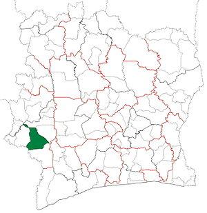 Guiglo Department - Image: Guiglo Department locator map Côte d'Ivoire