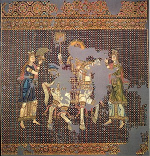 "Byzantine silk - The ""Bamberger Gunthertuch"", an embroidered imperial hanging depicting the return of John Tzimiskes from a successful campaign of about 970."