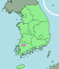 Map of South Korea with Gwangju highlighted