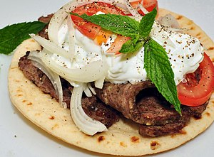 Garnish (food) - A gyro sandwich garnished with mint