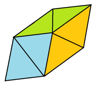 Trapezohedron - A 60° rhombohedron, dissected into a central regular octahedron and two regular tetrahedra