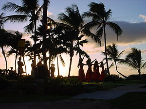 English: NATIVE HAWAIIAN DANCERS AT SUNSET. DA...