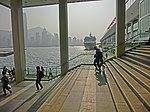 HK 尖沙咀 TST 海港城 Harbour City Ocean Terminal marble stone stairs view Victoria Harbour piers sunshine Mar-2013.JPG
