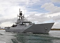HMS Clyde Leaving Portsmouth MOD 45151373