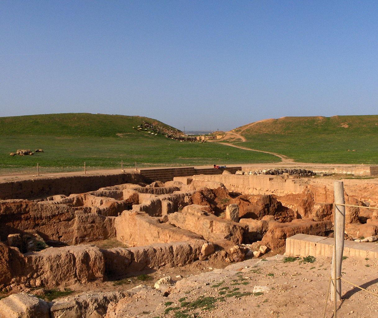 Premier plan: ruines du quartier sud. En arrière-plan, les ruines de l'enceinte extérieure d'Ebla et de la «porte de Damas».