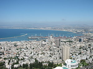 View of Haifa bay from Mount Carmel. Haifa, Israel