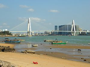 Haikou Century Bridge - A view from the southwest shore of Haidian Island at the mouth of the Nandu River