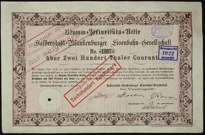 Halberstadt–Blankenburg railway - Image: Halberstadt Blankenburger Eisenbahn 1870