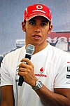 Lewis Hamilton talking at a press conference at the 2008 Singapore Grand Prix