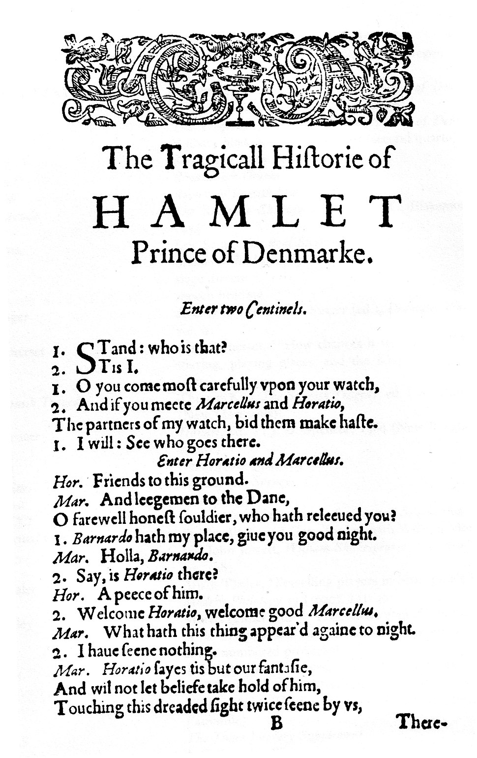 Hamlet First Quarto first page (1603)
