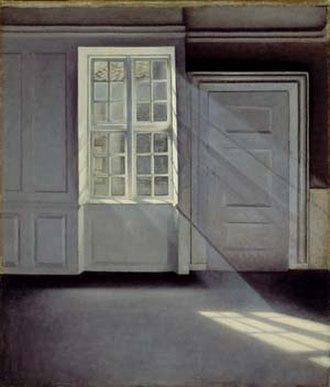 Ordrupgaard - Støvkornenes dans i solstrålerne (Dust Motes Dancing in the Sunbeams) by Vilhelm Hammershøi (1900)