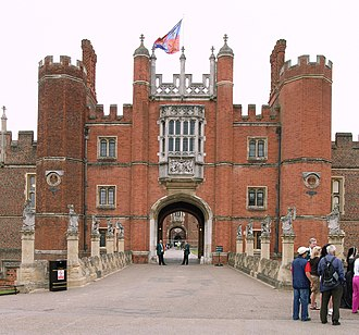 Eleanor Hibbert - Hampton Court, London. View of the Great Gatehouse from the outside.