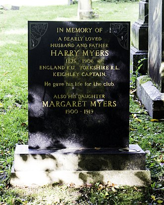 Harry Myers (rugby) - Myers' headstone in Utley Cemetery