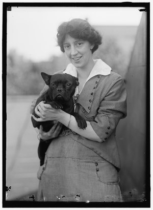 Hazel MacKaye and dog by Harris & Ewing - Original.tiff