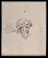 Head of a turbaned man. Drawing, c. 1794, after N. Poussin. Wellcome V0009219ETR.jpg