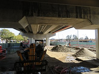 El Cerrito del Norte station - Construction of the expanded fare lobby in March 2018