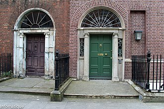 Henrietta Street, Dublin - Typical entrance doors - No.s 12 (left) and 11