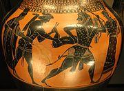 Ο Ηρακλής πιάνει το ελάφι της Κερύνειας. Αττικός μελανόμορφος αμφορέας περ. 530–520 π.Χ.