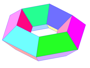 Toroidal polyhedron - A polyhedral torus can be constructed to approximate a torus surface, from a net of quadrilateral faces, like this 6x4 example.