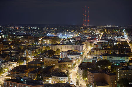 Aerial view of Capitol Hill (Seattle) at night, looking east from Pine and 9th.