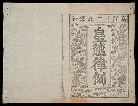 Hoang Trieu luat le, law introduced by Gia Long HoangVietLoatLe first page.jpg