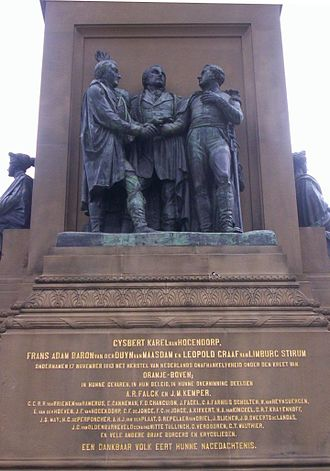 Batavian Republic - Gijsbert Karel van Hogendorp, Frans Adam van der Duyn van Maasdam and Leopold van Limburg Stirum, monument at 1813 Square, The Hague