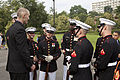 Honorary Marine Daran Wankum, left, speaks with Marines of Marine Barracks Washington following a wreath laying ceremony at the Marine Corps War Memorial in Arlington, Va, June 13, 2013 130613-M-KS211-023.jpg