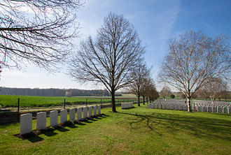 177th Tunnelling Company - Section of Hooge Crater Cemetery with location of a deep dugout made by 177th Tunnelling Company