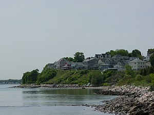 Houghs Neck - View looking SSW from Nut Island toward homes on Great Hill in the Houghs Neck neighborhood of Quincy, Massachusetts.