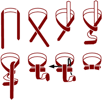 Instructions on a common way to tie a bow tie HowToTieBowtie VersionA.png