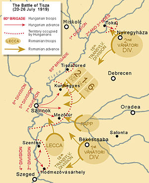 Hungarian–Romanian War - Operations of the Hungarian and Romanian armies during the battle of the Tisza river in July 1919
