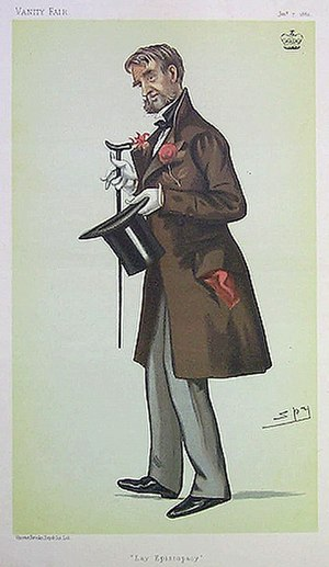 "Hungerford Crewe, 3rd Baron Crewe - ""Lay Episcopacy"" Lord Crewe as caricatured by Spy (Leslie Ward) in Vanity Fair, January 1882"