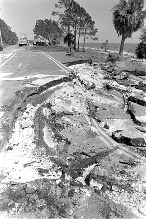 Hurricane Elena - Numerous coastal roads, such as this one along the Gulf Coast of Florida, were damaged by the hurricane's storm surge.
