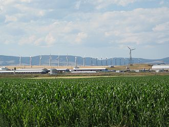 Hutterites - Hutterite colony in Martinsdale, Montana with an array of reconditioned Nordtank wind turbines