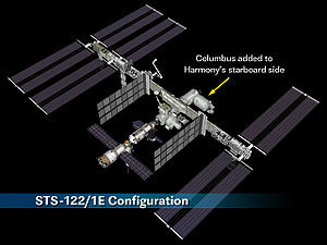 STS-122 - Illustration of the ISS after STS-122, highlighting the addition of the Columbus laboratory module.