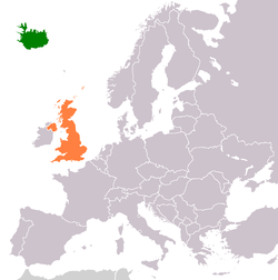 Map indicating locations of Iceland and United Kingdom