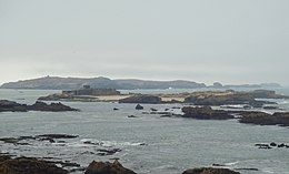 Iles Purpuraires with Mogador island in the background seen from the Essaouira citadel.jpg