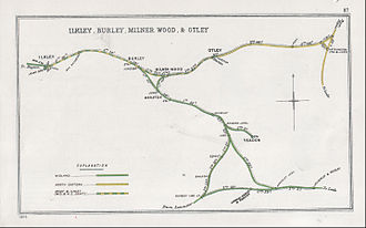 Joint railway - A diagram showing railways near Ilkley, West Yorkshire, including a joint railway