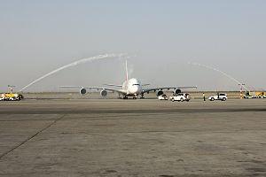 Tehran Imam Khomeini International Airport - The Emirates Airbus A380 saluted by traditional water cannon ceremony In Imam Khomeini Int'l Airport, Tehran 2014