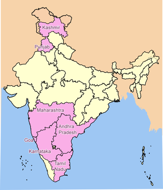 Indian wine - The major wine regions of India highlighted. To the north is Kashmir and Punjab. To the south (clockwise from top) is Maharashtra, Andhra Pradesh, Tamil Nadu, Karnataka and Goa.