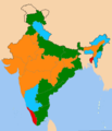 Indian states according to the party of their chief ministers.png