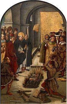 Inkvisisjonen brenner bøker de ikke har godkjent, på et spansk 1400 - talls maleri