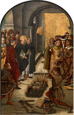 An image frequently misinterpreted as the Spanish Inquisition burning prohibited books. This is actually Pedro Berruguete's La Prueba del Fuego (1400s). It depicts a legend of St Dominic's dispute with the Cathars: they both consign their writings into the flames, and while the Cathars' text burn, St Dominic's miraculously leaps from the flames.
