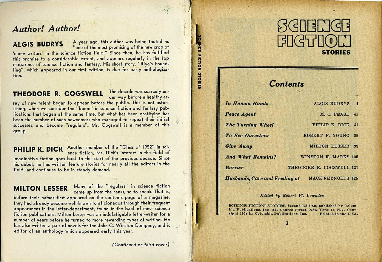 File:Inside Front Cover and Table Of Contents, Science Fiction ...