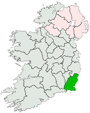 History of County Wexford - County Wexford highlighted in green