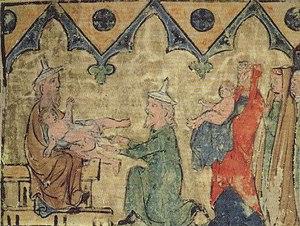 """Brit milah - """"Isaac's Circumcision"""", Regensburg Pentateuch, c1300"""