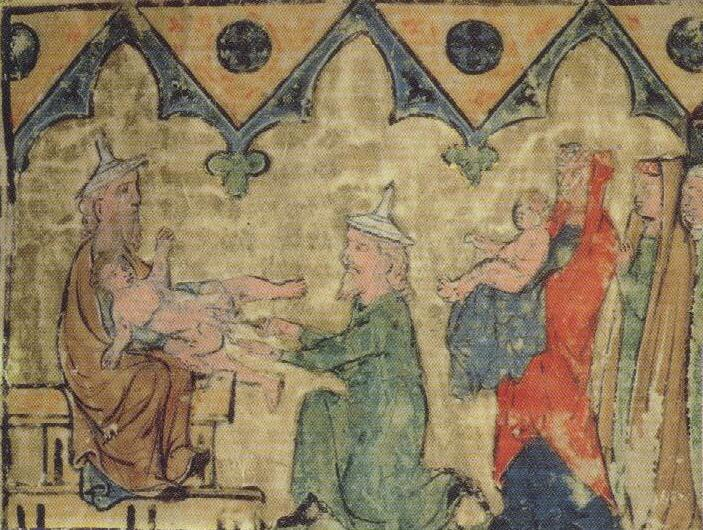 Isaac's circumcision, Regensburg c1300